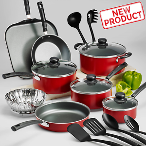 18-Piece-Cookware-Set-Pots-amp-Pans-Kitchen-Non-Stick-Home-Cooking-Pot-Pan-Red-NEW