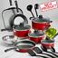18-Piece-Cookware-Set-Pots-amp-Pans-Kitchen-Non-Stick-Home-Cooking-Pot-Pan-Red-NEW miniatura 1