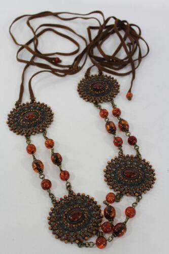 Women Skinny Belt Hip Waist Flowers Gold Metal Chain Brown Beads Tie Fashion S M