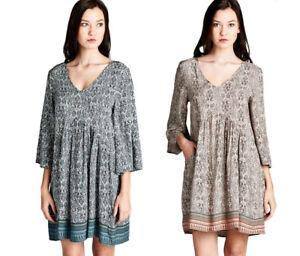 JODIFL-Womens-Boho-Chic-3-4-Bell-Sleeve-Bohemian-Casual-Print-Dress-S-M-L