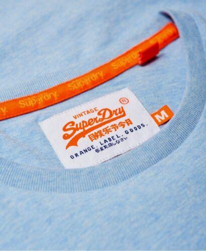 Superdry Orange Label Vintage Brodé T-shirt à encolure ras-du-cou bleu pastel chiné