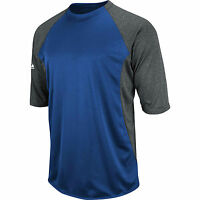 Majestic Youth S Sm Featherweight Therma Base 3/4 Sleeve Tech Fleece Blue Grey