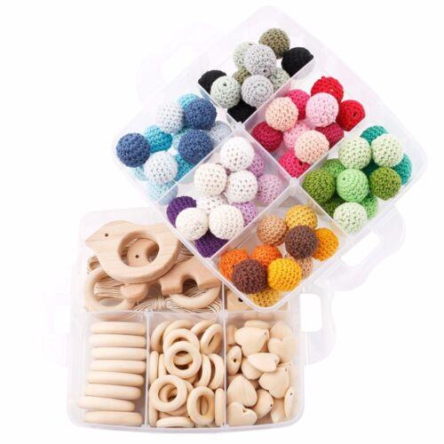 Elephant Bird Beech Wood Crochet Bead Kit DIY Baby Teething Toy Jewelry Necklace