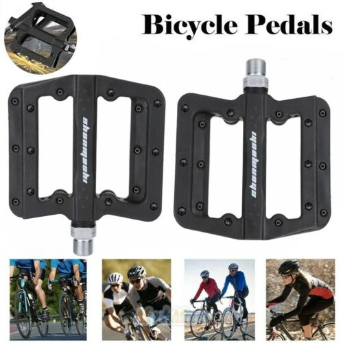 2 Pairs Mountain Road Bike Bicycle Bearing Pedals Wide Nylon Black Pedal 9//16/'/'