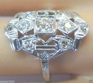 Antique-Art-Deco-Vintage-Diamond-Engagement-18K-White-Gold-EGL-USA-Ring-Sz-7-5
