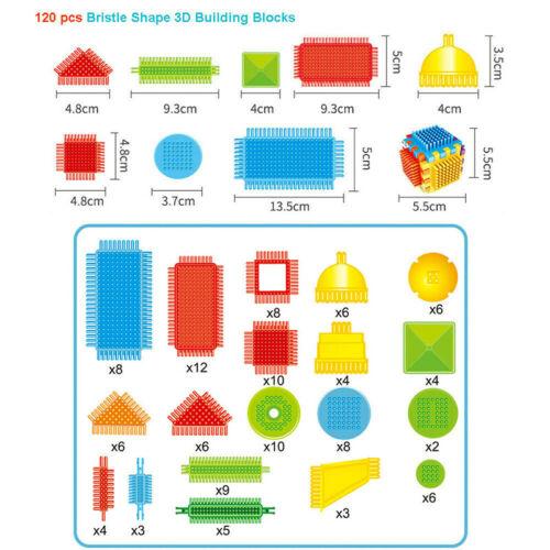 100//120//150 Teile Steckspielzeug Noppenbausteine 3D Borstenform Baustein DE