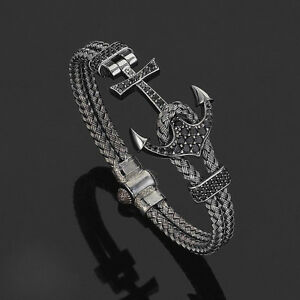Luxury-Men-039-s-Anil-Arjandas-Rhodium-Plated-Anchor-Bangle-Bracelet-Stainless-Steel