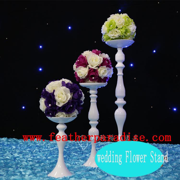 Lot de 3 Mariage Fleur Plumes Bal Floral Stand Pilier Bougeoir Blanc