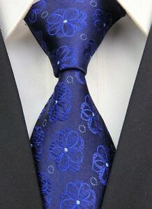 Navy-Blue-Floral-Classic-JACQUARD-Woven-100-Silk-Mens-Tie-Necktie