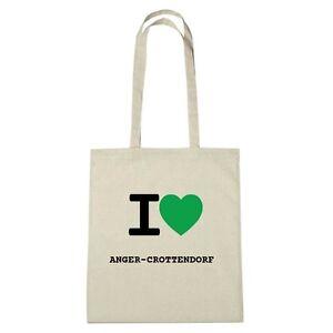 Umwelttasche - I love ANGER-CROTTENDORF - Jutebeutel Ökotasche - Farbe: natur