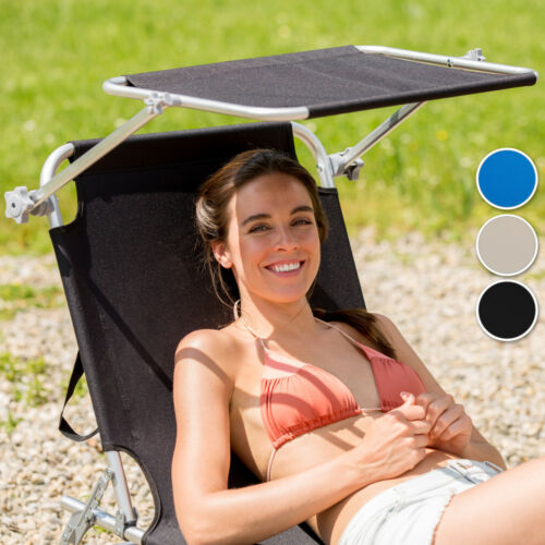 Lettino a sdraio per prendere il sole con l/'ombrello parasole nuovo blu