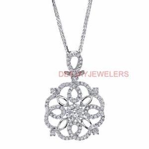 296d589f2227 Detalles acerca de VS1 Diamante Colgante Collar Natural 0.80ct Blanco 18k  Oro Tudor Rose- mostrar título original
