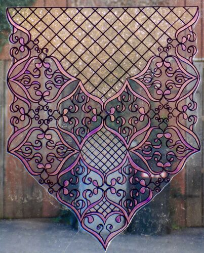 WICOART WINDOW COLOR STICKER CLING FAUX STAINED GLASS RIDEAUX 20X25 CURTIN