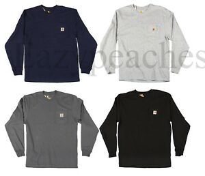 45a6288ef755 Carhartt Men's Long Sleeve Pocket T-shirt, Cotton, Regular, Big ...