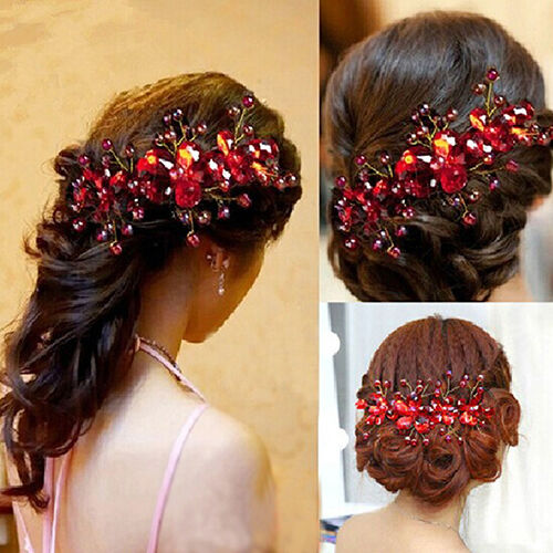 Women's Red Flower Wedding Bridal Party Accessory Handmade Hair Pin Clip Worthy