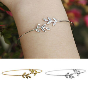 WOMEN-SIMPLE-LEAVES-BANGLE-BRACELET-TREE-LEAF-CHARM-GOLD-SILVER-PLATED-INVITING