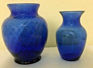 "2 Collectible Cobalt Blue Flower Vases - 5 1/2"" & 6 1/2"" Swirl Design"