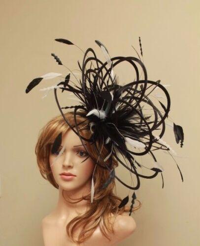 Large noir /& ivoire fascinate//fascinator chapeau//choisir toute couleur satin//plumes