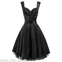 PRETTY KITTY ROCKABILLY BLACK SATIN SWING VINTAGE PARTY COCKTAIL PROM DRESS 8-26