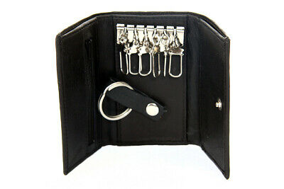 Genuine Leather Men/'s Key Holder Accessory 6 Key Chain Wallet Case Black
