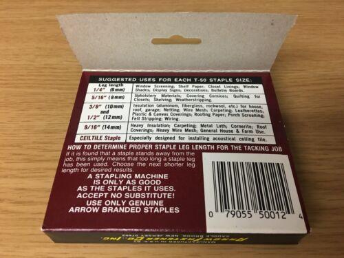 """New Genuine Arrow® Precision Made No 1,250 per box T-50® ½/"""" Staples 12mm"""