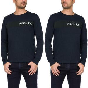 REPLAY-t-shirt-uomo-taglia-XXL-manica-lunga-girocollo-maglietta-cotone-blu-logo