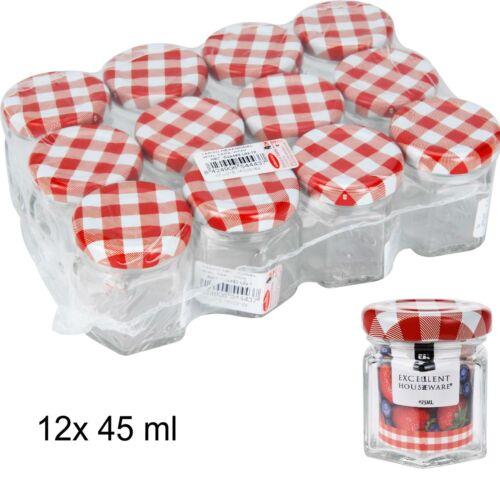 Mini Bocaux 12x 45 ml-Réserve Verres avec Bouchon à Vis-Confiture Verres