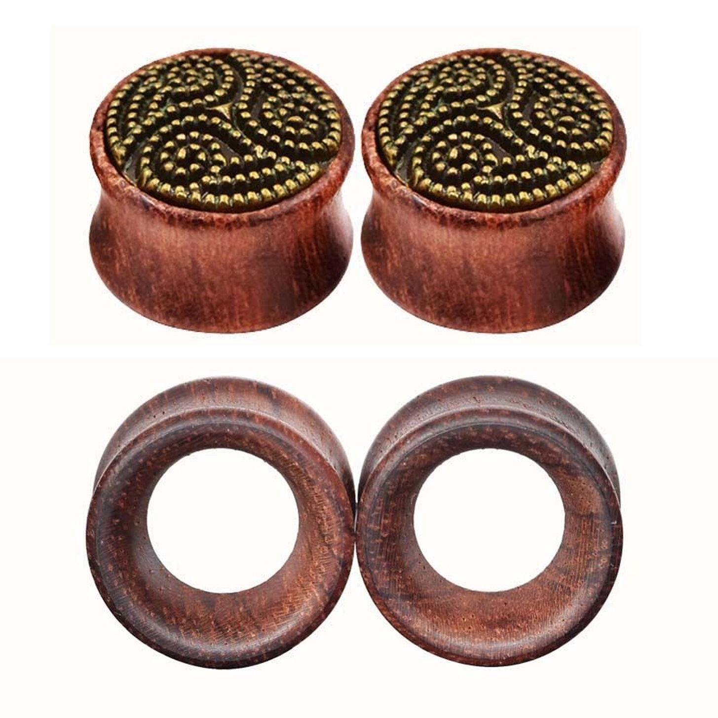 0 3//32-1 3//16in Plug Flesh Tunnel Wood Double Flared Organic Brown Black Horn