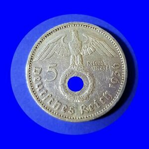 🍀Hindenburg 5 Mark 1936 E mit HK VF-F Silber 12483 Low Shipping Combine Free.
