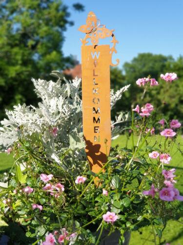 Willkommen zum stecken Edelrost Gartenstecker mit Schmetterling Garten Deko