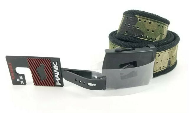Mens Tony Hawk Belt Size 34-36 M Black Buckle Camo Belt New Reversible