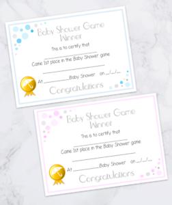 ☆ Baby Shower Winner Certificate ♡ 8 12 or 16 ☆ Pink or Blue ☆