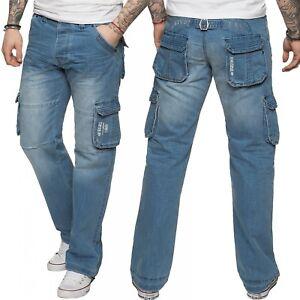 New-Enzo-Mens-Designer-Cargo-Combat-Work-Jeans-Blue-Denim-Pants-All-Waist-Sizes