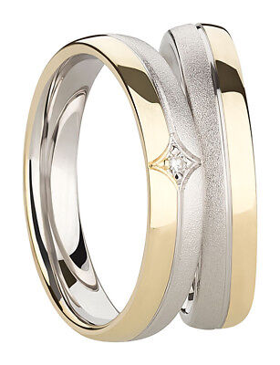 Ring Eheringe Partnerringe Verlobungsringe Silber Gold 925 Mit Diamant + Gravur Produkte Werden Ohne EinschräNkungen Verkauft