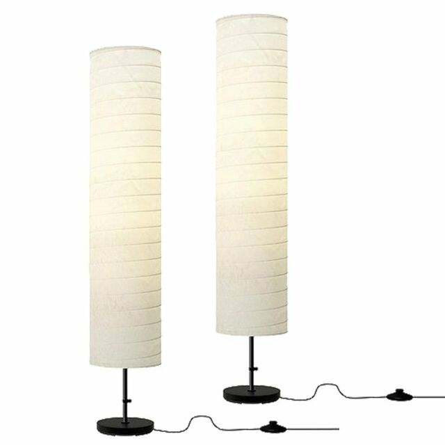 Ikea Holmo Floor Lamp Light White Rice Paper Shade Modern