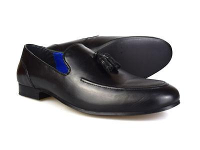 Red Tape Ampthill Mocasines Cuero Negro para Hombre Zapatos Con Borlas Gratis Reino Unido P&p RRP £ 45!