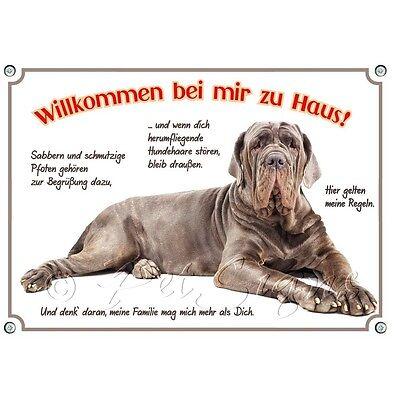 Aufstrebend Hundeschild Mastino Napoletano - Stabiles Metallschild - Willkommen