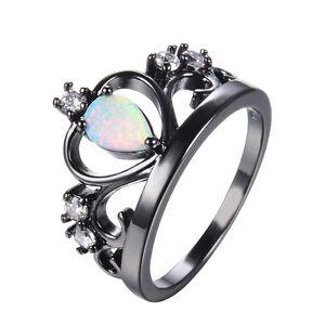 Pear-Opal-CZ-Princess-Crown-Wedding-Bands-Ring-Black-Gold-Filled-Jewellry-Sz-5-9