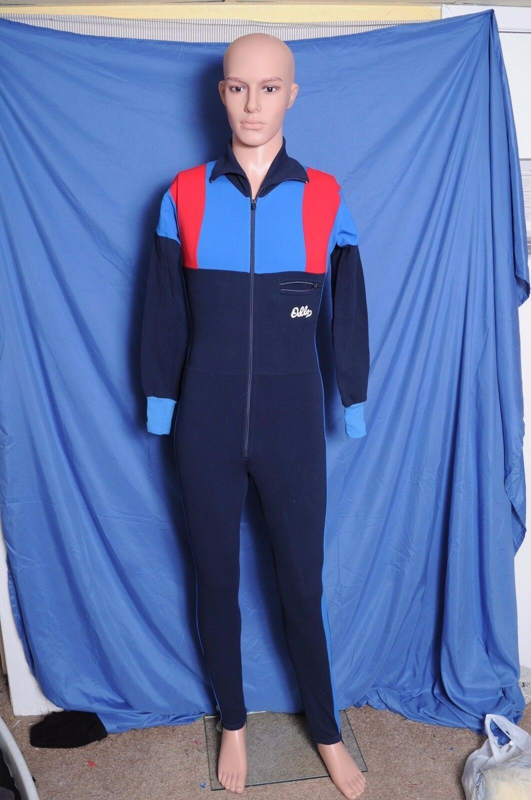 Vintage '80s Odlo nylon stretch ski racing cross country suit 16 S Norway