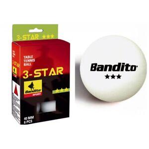 Tischtennis-Baelle-Bandito-6-Stueck-Star-Ping-Pong-Tischtennisbaelle-weiss-NEU