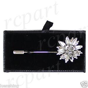 790849f111f New in box Men's Suit brooch chest metal flower shape silver lapel ...