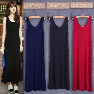 Lady-Modal-A-Line-Long-Vests-Dress-Sleeveless-Baggy-Casual-Home-Beach-Tank-Dress