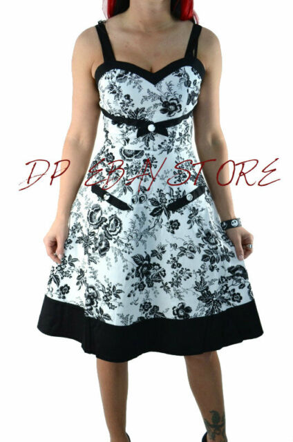 VOODOO VIXEN FLORAL PRINT GOTHIC DRESS EMO PIN UP 60'S RETRO GOTHIC SEXY DRA2130