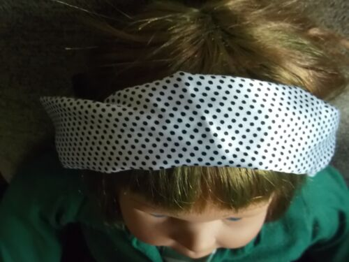 Black /& White Polka Dot Hair bandeaux fabric headband hairband silky wrap band
