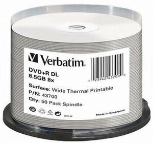 graphic about Verbatim Dvd R Printable identify Data concerning Verbatim DVD+R 8.5GB 8x Tempo Twin Layer Huge Thermal Printable DVD Disc Pack 50