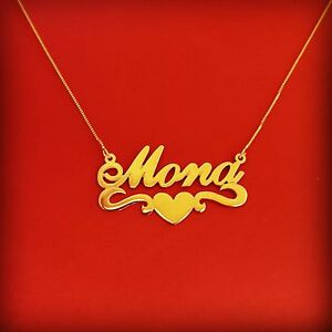 gold personalized name necklace mona style 14k solid gold any