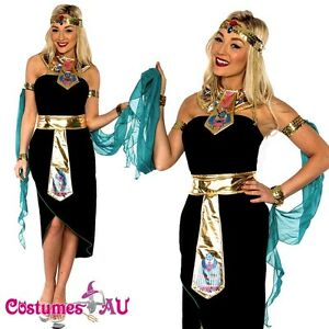 Ladies Cleopatra Egyptian Goddess Fancy Dress Halloween Costume /& Headband