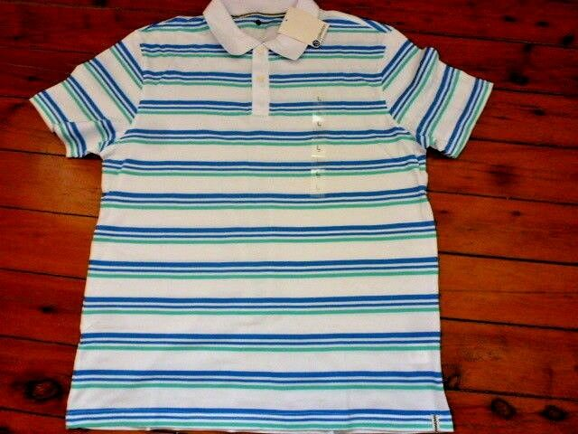 Mens White Striped Polo Top  Short Sleeve SizeL