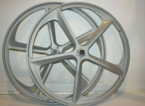 "R4 29/"" BMX Cruiser 5-Spoke Alloy Rims Matte Silver Wheel Set Wheels"