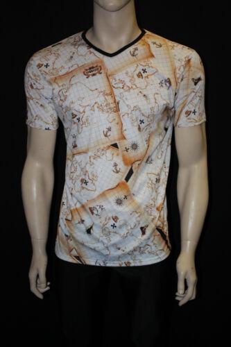 MEN/'s tra i vecchi Treasure Map Stampa Scollo A V T-Shirt Top GOTH PUNK EMO S L XL M